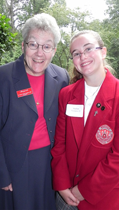 Sister Shawn Marie Maguire, SND, President and Headmistress of Maryvale with 2011 Marlatt Scholar,  Madison Vicendese.